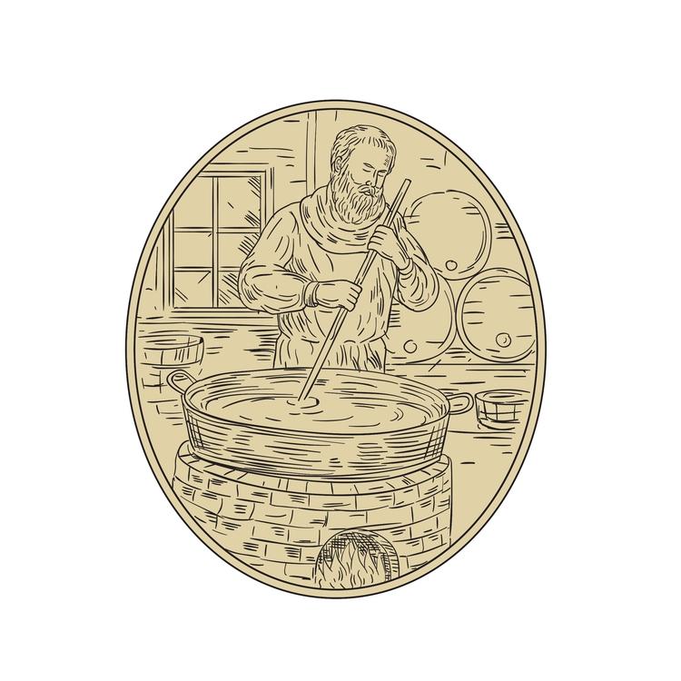 Beer Oval - Medieval, Monk, Brewing - patrimonio | ello