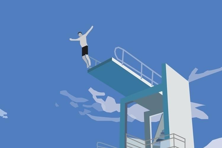 illustration, divingtower, clouds - sophieillustration | ello
