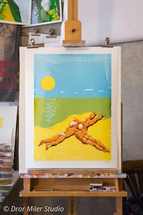 Guys beach 6 color Screen print - drormiler | ello