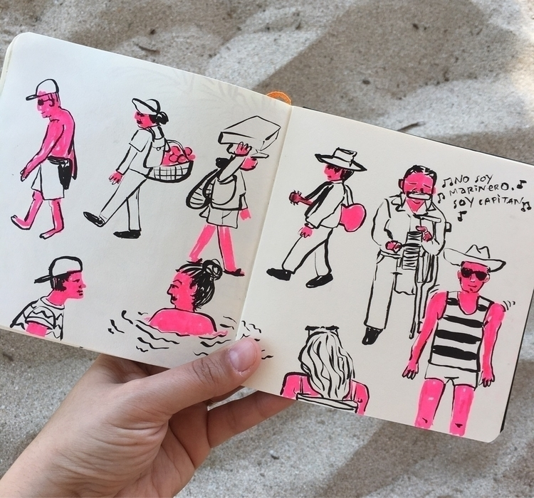 Beach people - illustration, sketchbook - chenreichert | ello