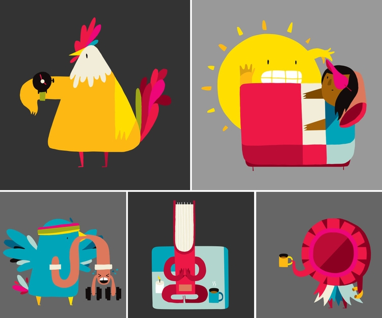 spot illustrations time, mornin - ebencom | ello