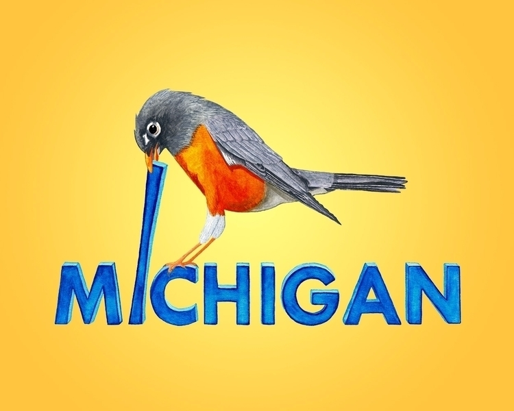 Michigan Robin State Bird Water - mydiagonallife | ello