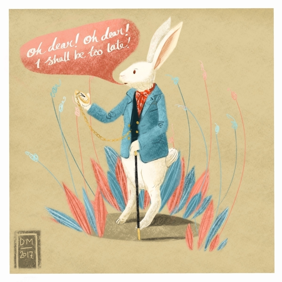 White rabbit - illustration - doodlesmarc | ello