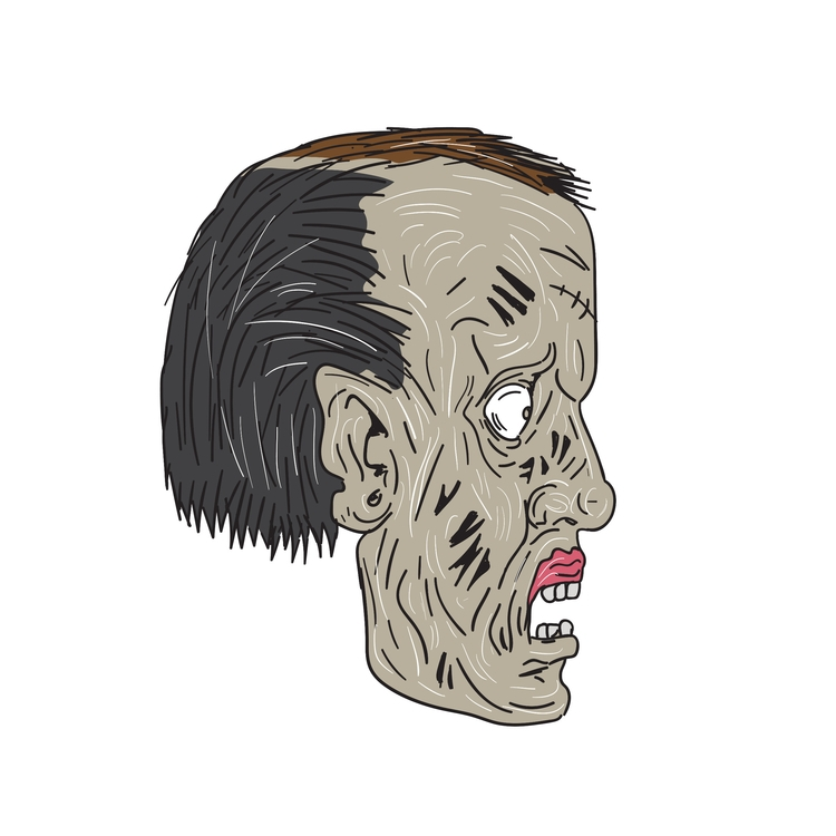 Zombie, Head, Side, Drawing, retro - patrimonio   ello