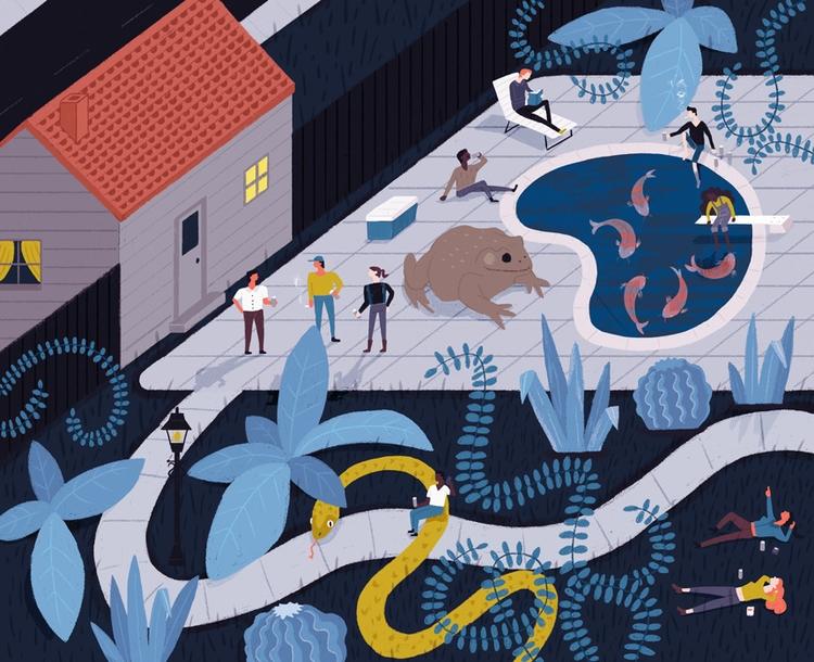 Pool Party - illustration, pool - alexander_mostov | ello