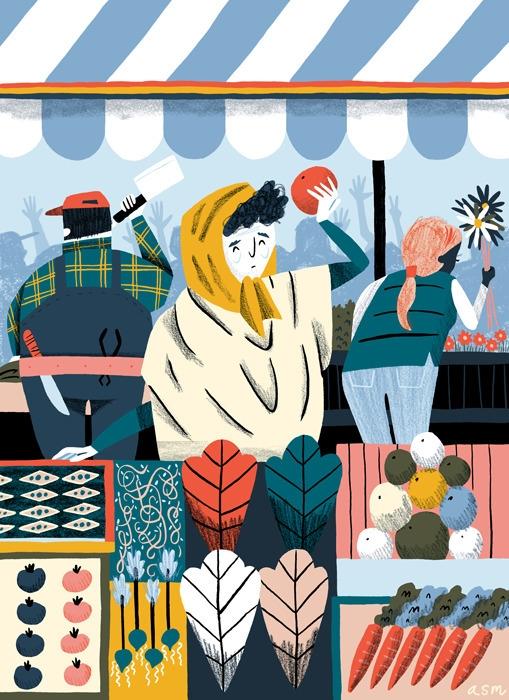 Market - illustration, market, farmer - alexander_mostov | ello