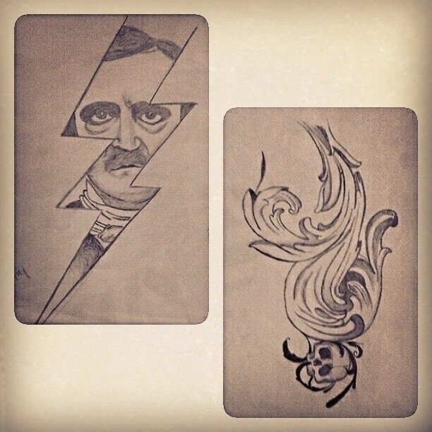 sketch, 2013. year; tattoo - edgarallanpoe - limpedhiel | ello