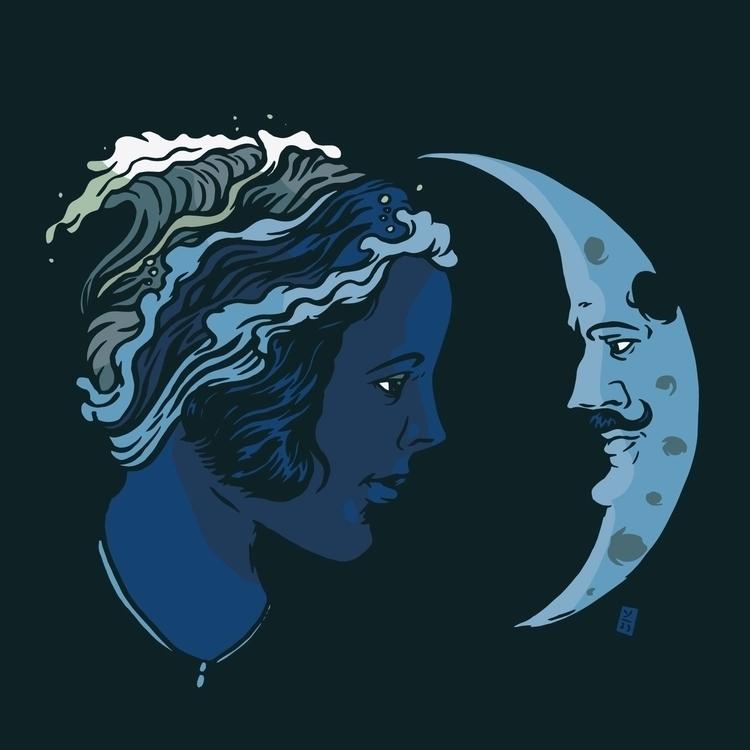 Sea Moon - illustration - thomcat23 | ello