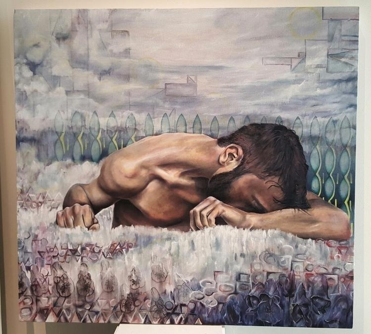 Apathy oil, copper leaf, canvas - bionic_cole | ello