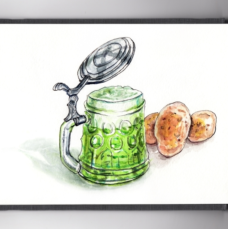 Green Beer Potatoes Mood - watercolor - doodlewash | ello