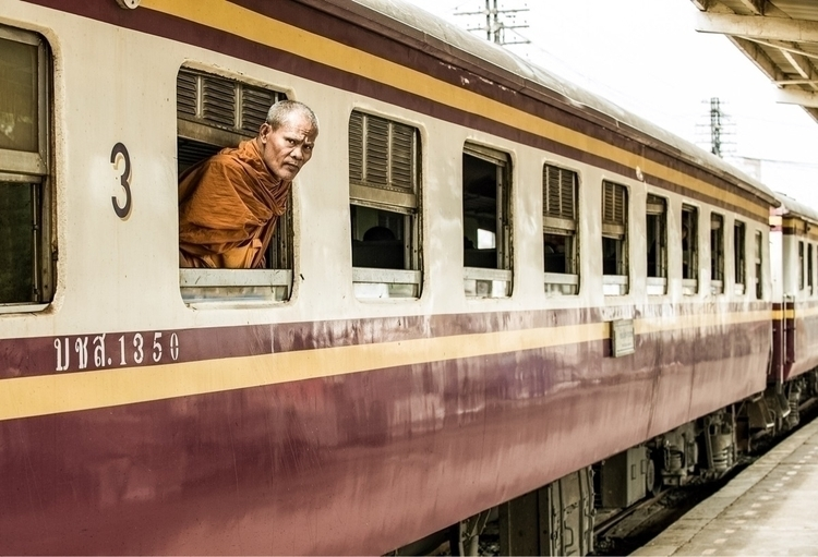 Buddhist Monk waiting train dep - ramses02   ello