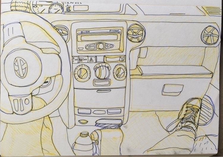 lounging car march 8, 2017 - art - heartguts   ello