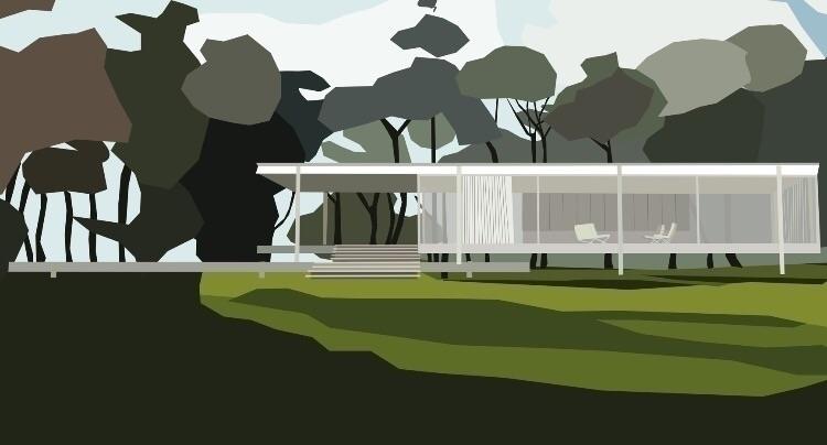 Farnsworth House Mies van der R - sophieillustration | ello