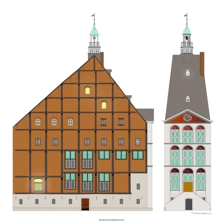 Maastricht drawing 'Het Dinghui - peterscheele | ello