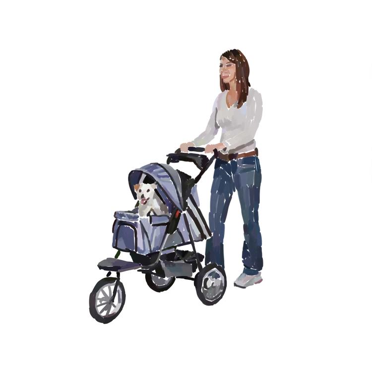 Woman pushing dog stroller - carolynfigel   ello