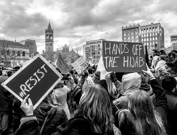 Boston Protest Muslim Ban Anti - electrachrome | ello