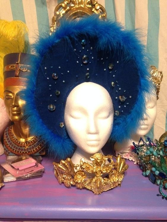 Handmade blue velvet hat vintag - nefertara | ello
