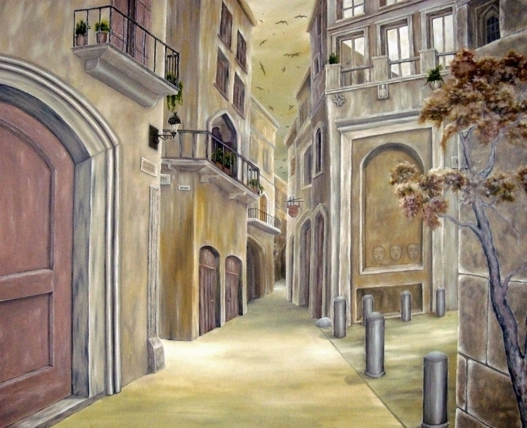 painting, art, medieval, town - fayeanastasopoulou   ello
