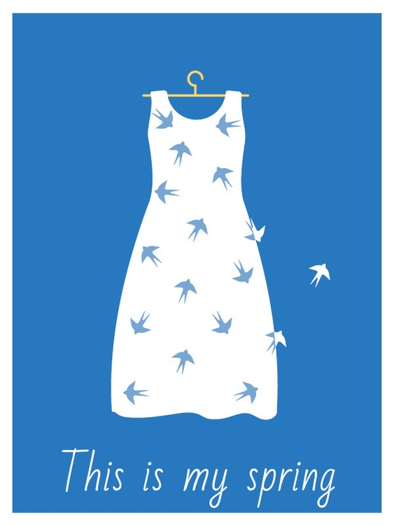 spring, dress, swallows, blue - katarinashamova | ello
