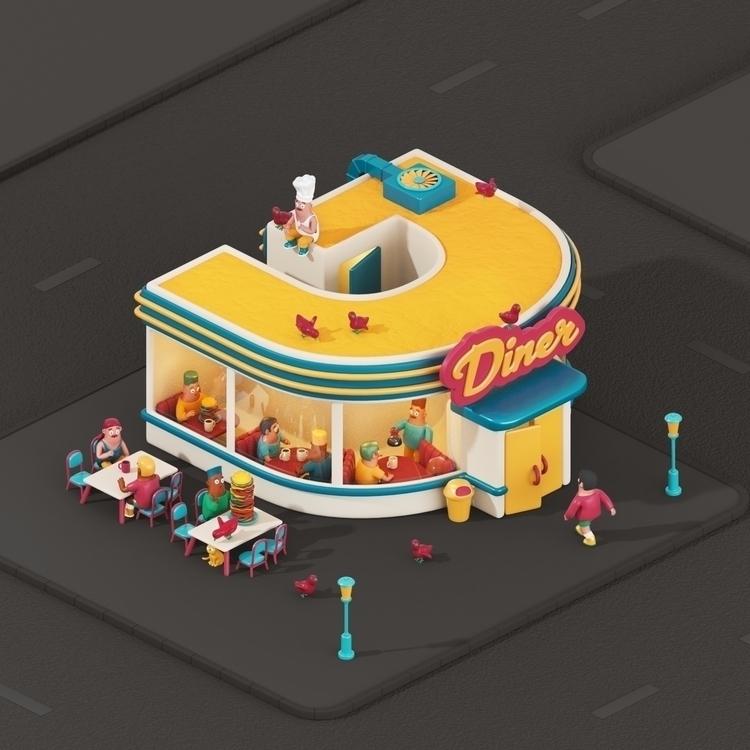 Diner - 36daysoftype, 36days_D - yippiehey | ello