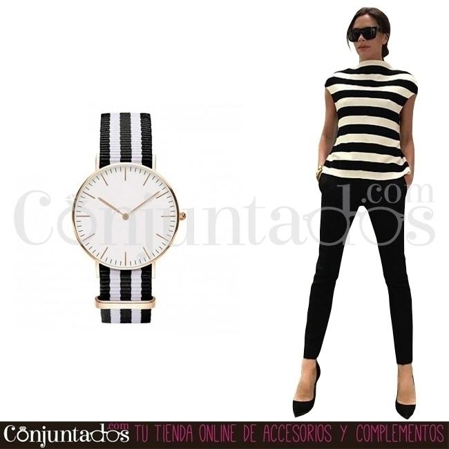 Reloj Stripes rayas blanco negr - conjuntados_com   ello