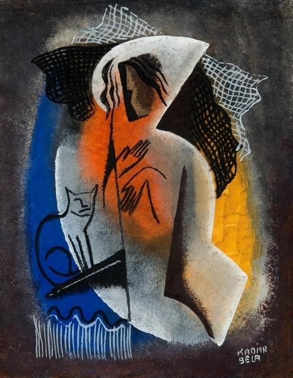 Béla Kádár: Woman Cat, 1930 - arthurboehm   ello