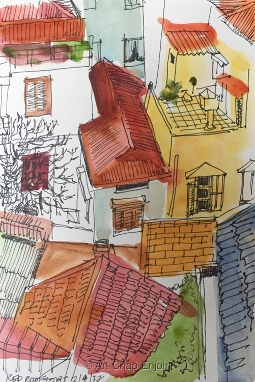 - Red rooftops Today year anniv - artchapenjoin | ello
