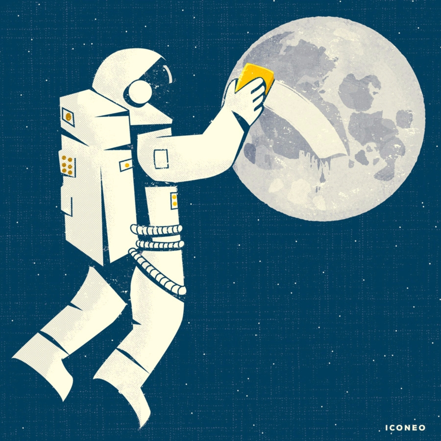 Dirty Moon - illustration, moon - iconeo | ello