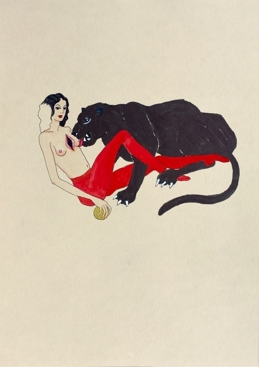 kunst, drawing, blackcat, woundedheart - lorettamae | ello
