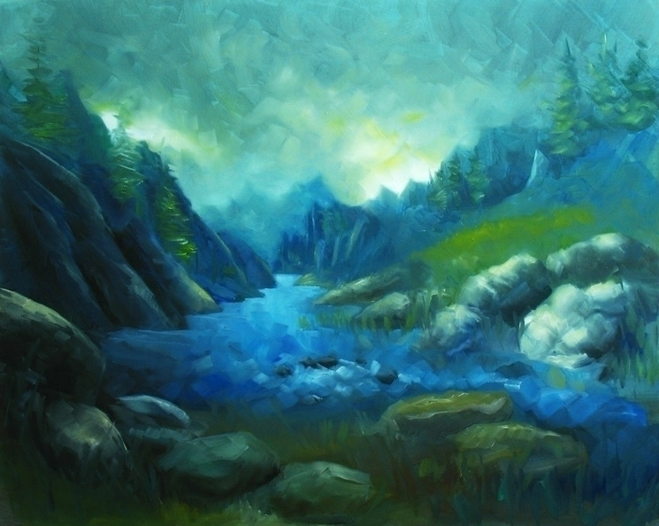mountain lake :heart:️ poeticoi - poetic_oilpainting | ello