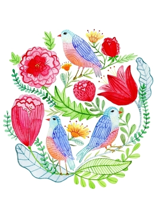 Spring Birds watercolour perfec - klikadesign | ello