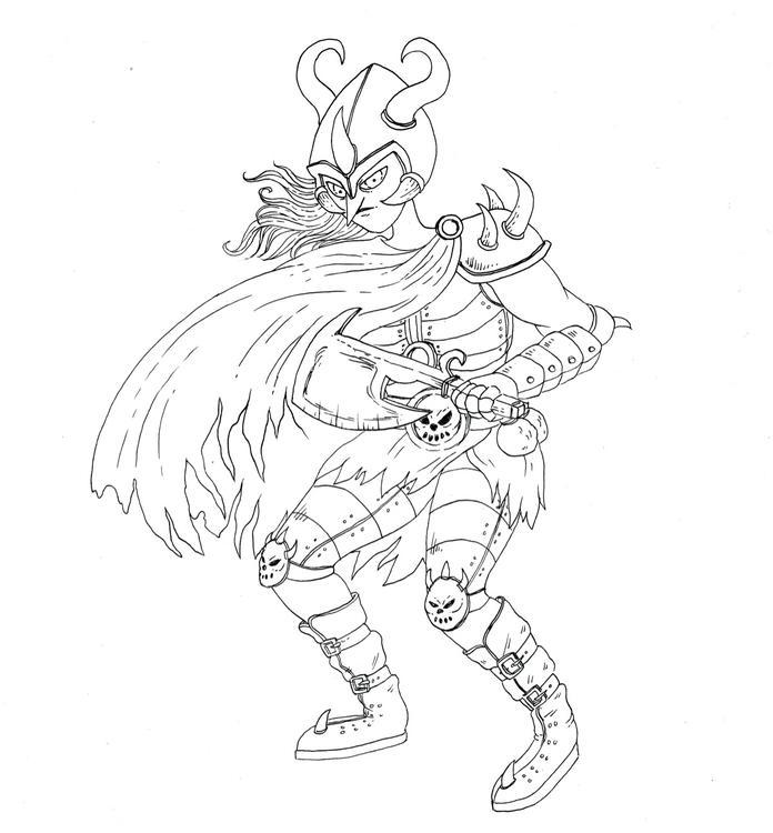 witchtober, witch, warrior, genderqueer - skeenep   ello