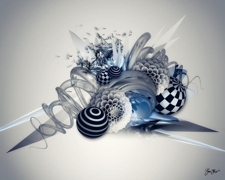 Dahlia Collage - 3D, C4D, digitalart - ginastartup | ello