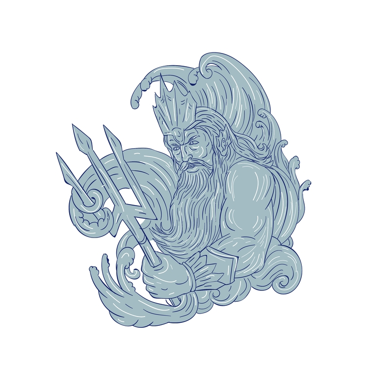 Poseidon, Trident, Waves, Drawing - patrimonio | ello