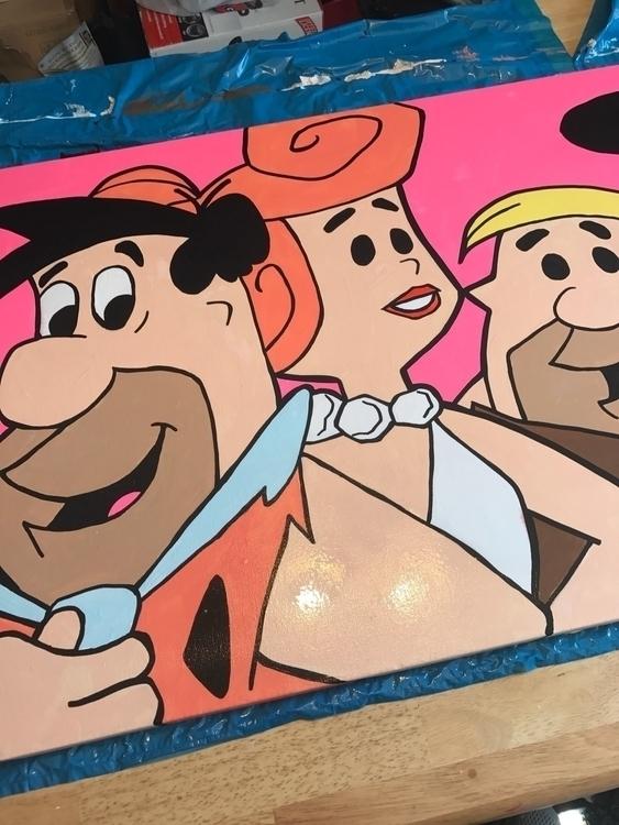 Flintstone painting 24x36 canva - booda18 | ello