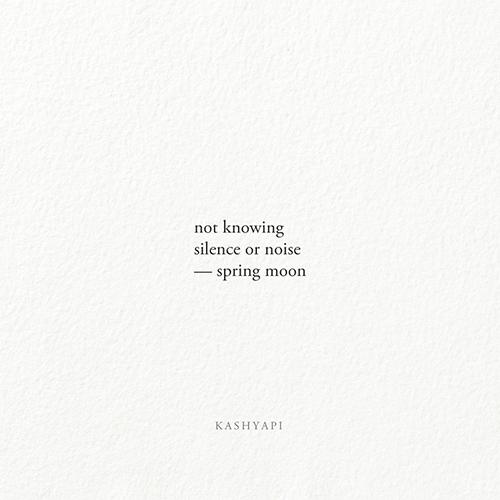 Haiku / knowing silence noise  - kashyapi | ello