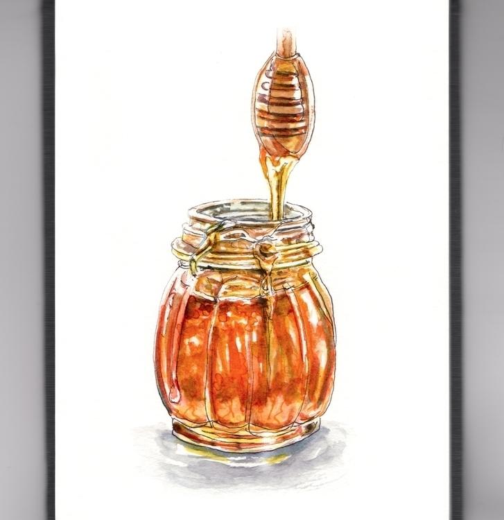 Honey, Honey - watercolor, watercolour - doodlewash | ello