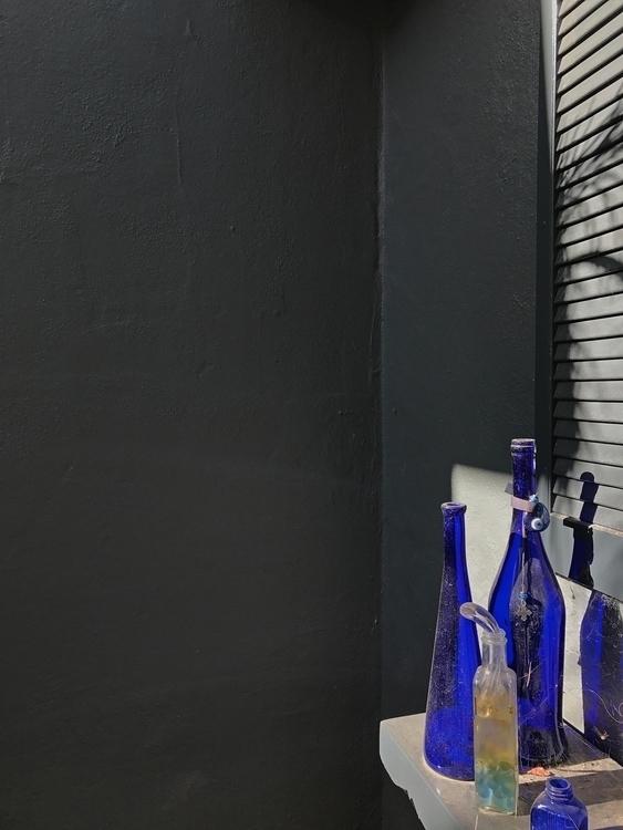 Blue Clear Bottles, Gray Walls - odouglas | ello