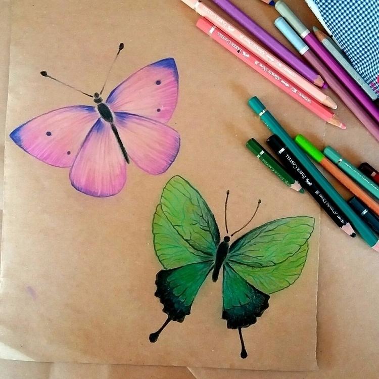 Pink butterfly +Green - Butterflies - design_studio_33 | ello