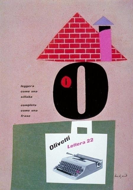Paul Rand, Olivetti poster, 195 - p-e-a-c | ello