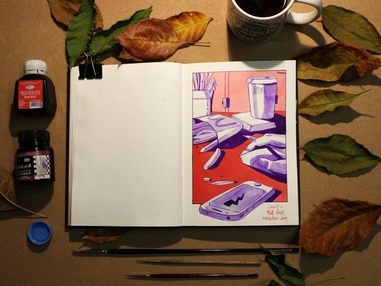 daydreams.  - ink, illustration - kaashamasha | ello