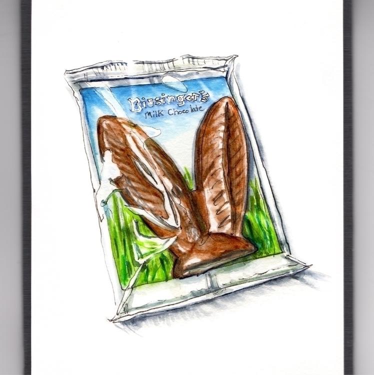 Chocolate Bunny Ears - watercolor - doodlewash | ello