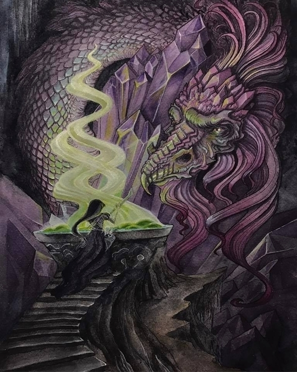 Crystal Dragon inks, watercolor - rachelquinlan | ello
