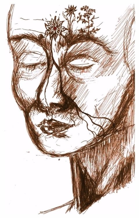 Meditation, sketchbook drawing - wiebkerost | ello