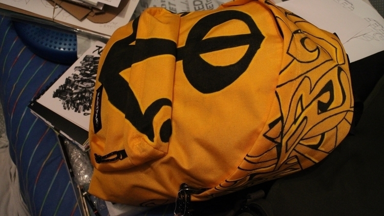 yellow backpack Eastpak handmad - robotsrocketsandthings | ello