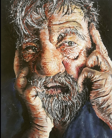 portrait grandfather. acrylic,  - finnireland   ello
