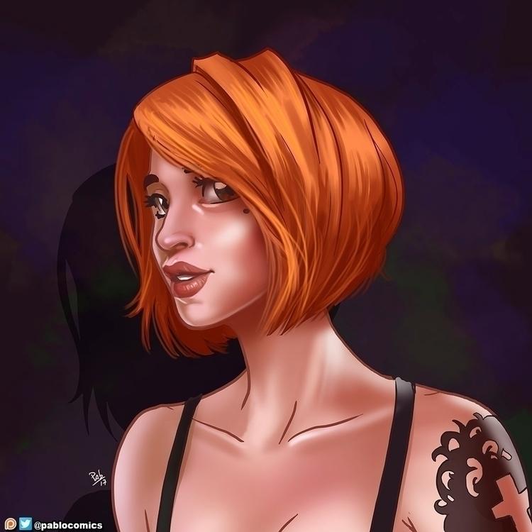 Vivid portrait - orange, hair, tattoo - pablocomics | ello