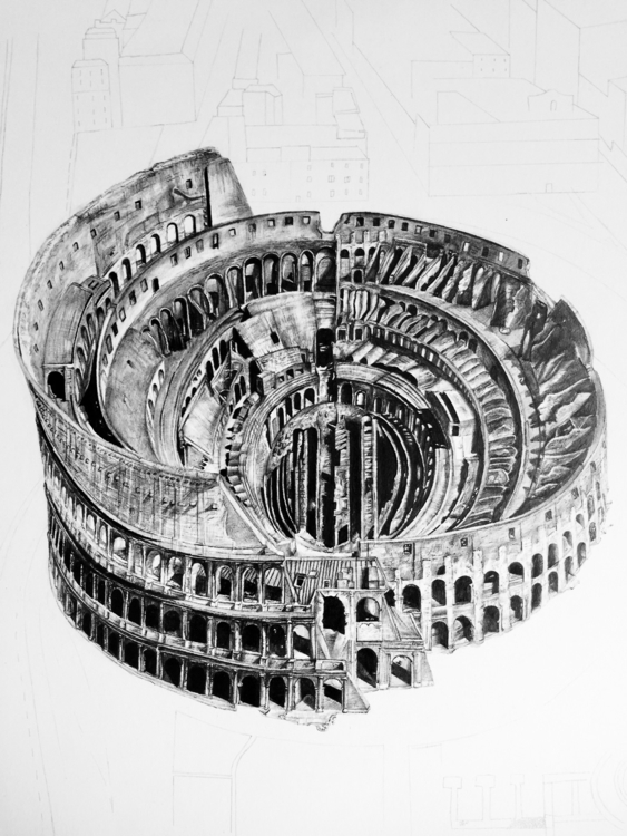Roman drawing 14 17 - Colosseum - epdraw | ello