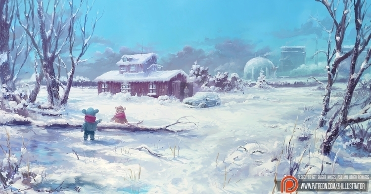 Winter Scene, Živko Kondić Zhil - zhillustrator | ello