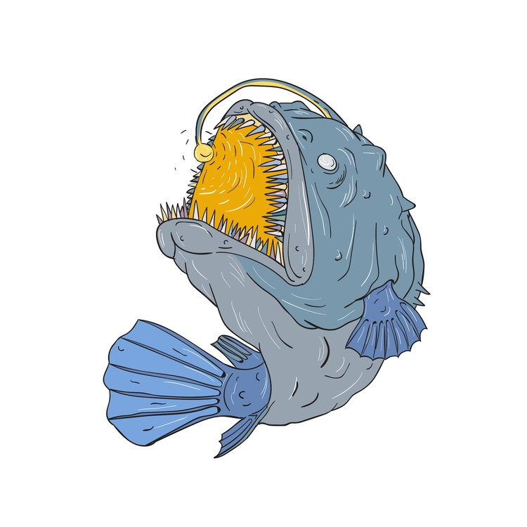 Anglerfish, Swooping, Lure, Drawing - patrimonio | ello